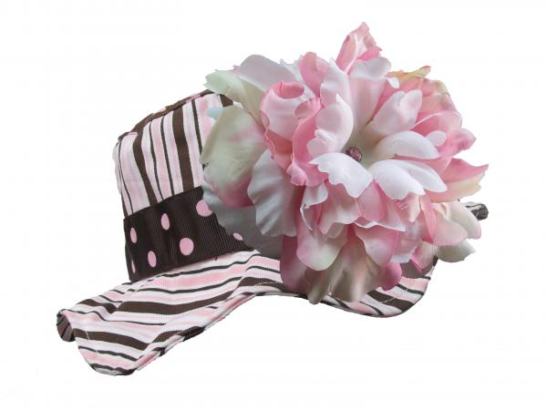 Brown Pink Dot Multistripe Sun Hat with Pink White Large Peony