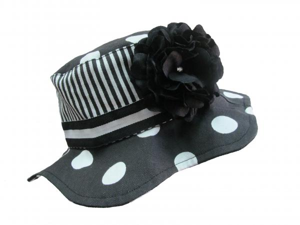 Black White Dot Sun Hat with Black Large Geraniums