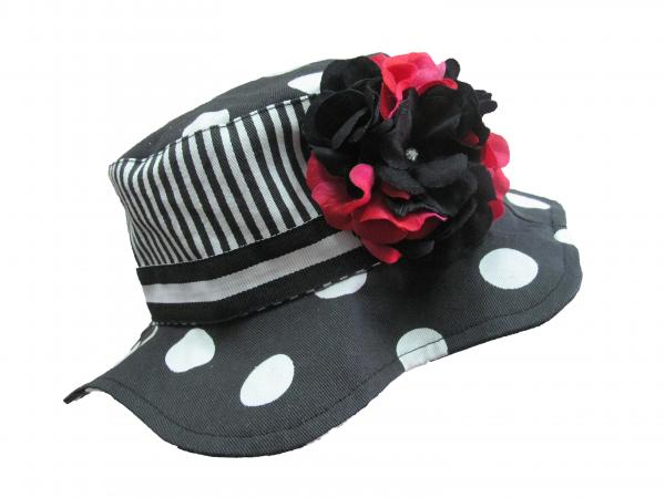 Black White Dot Sun Hat with Black Raspberry Large Geraniums