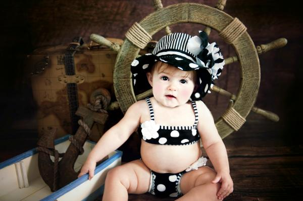 Black White Dot Sun Hat with Black White Large Peony