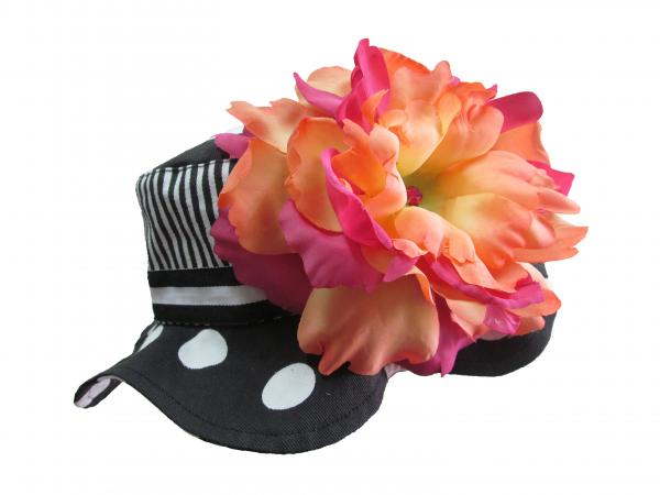 Black White Dot Sun Hat with Orange Raspberry Large Peony