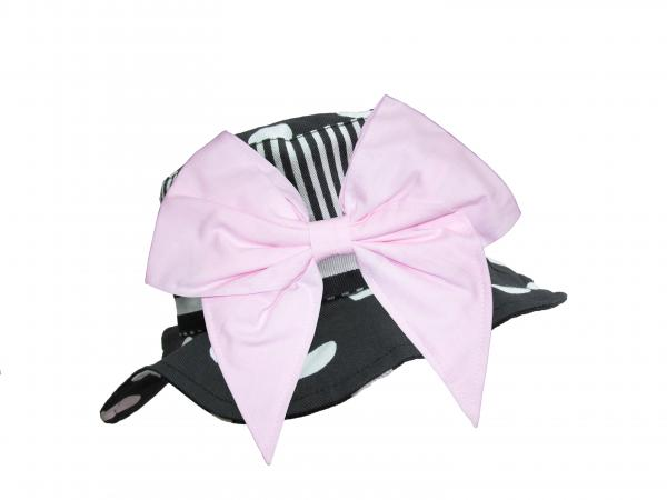 Black White Dot Sun Hat with Pale Pink Bow-Rae-Mi