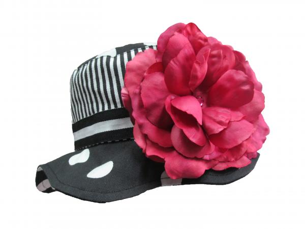 Black White Dot Sun Hat with Raspberry Large Rose