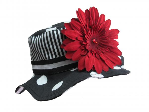 Black White Dot Sun Hat with Red Daisy
