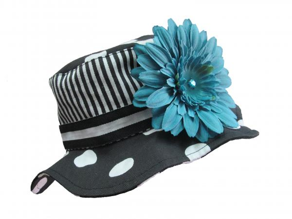 Black White Dot Sun Hat with Teal Daisy