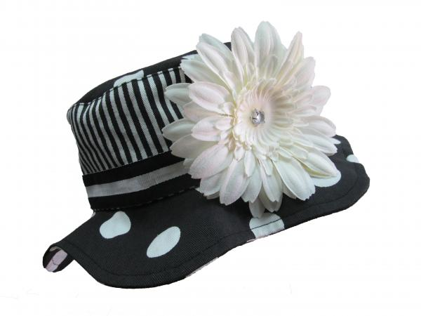 Black White Dot Sun Hat with White Daisy