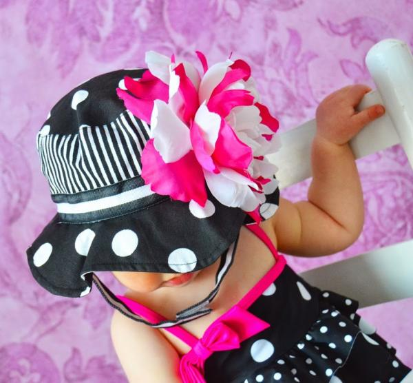 Black White Dot Sun Hat with White Raspberry Large Peony
