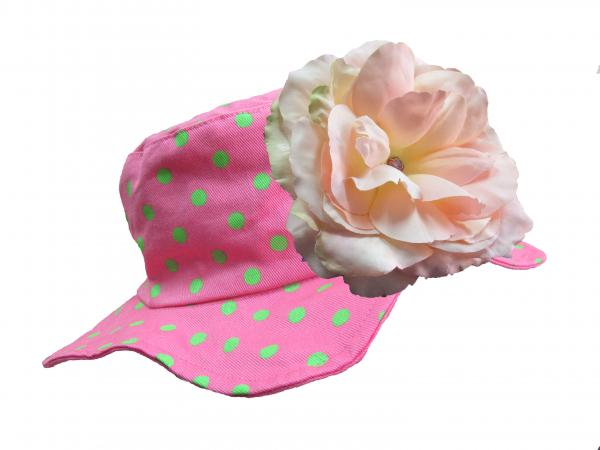 Candy Pink Aloe Dot Sun Hat with Pale Pink Large Rose