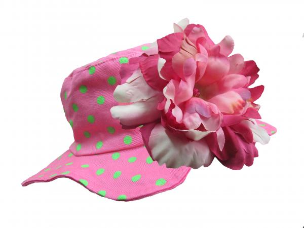Candy Pink Aloe Dot Sun Hat with Pink Raspberry Large Peony