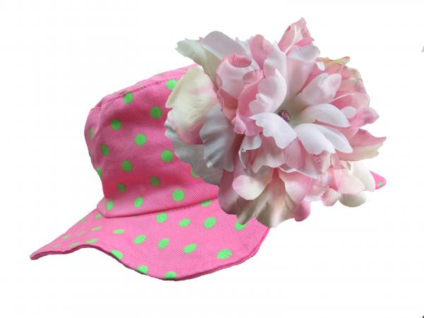 Candy Pink Aloe Dot Sun Hat with Pink White Large Peony