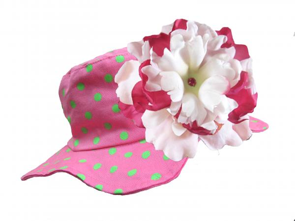 Candy Pink Aloe Dot Sun Hat with White Raspberry Large Peony