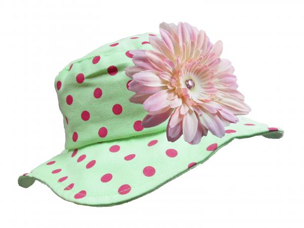 Light Aloe Sun Hat with Pale Pink Daisy