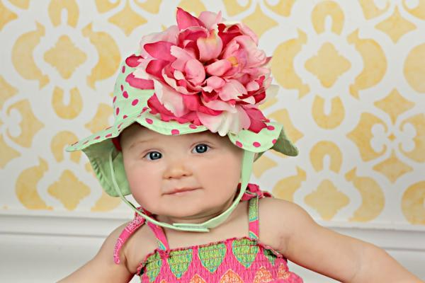 Light Aloe Sun Hat with Pink Raspberry Large Peony