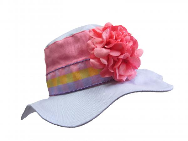Lavender Gingham Sun Hat with Candy Pink Large Geraniums