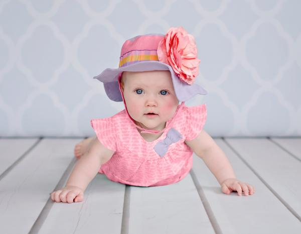 Lavender Gingham Sun Hat with Candy Pink Large Rose