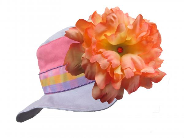 Lavender Gingham Sun Hat with Orange Large Peony