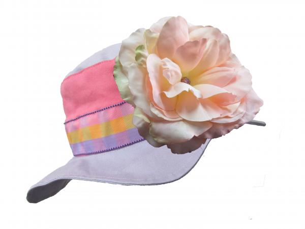 Lavender Gingham Sun Hat with Pale Pink Large Rose