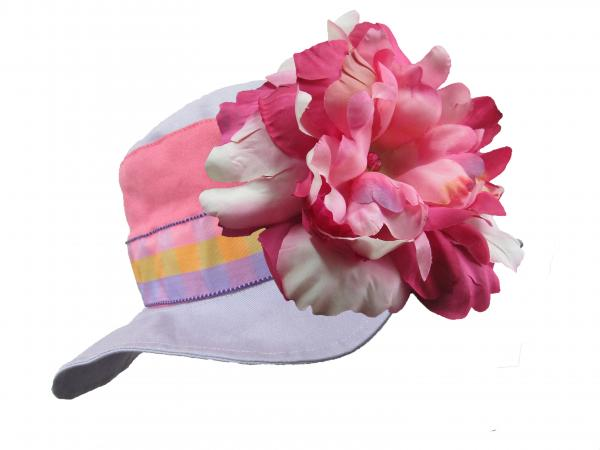 Lavender Gingham Sun Hat with Pink Raspberry Large Peony