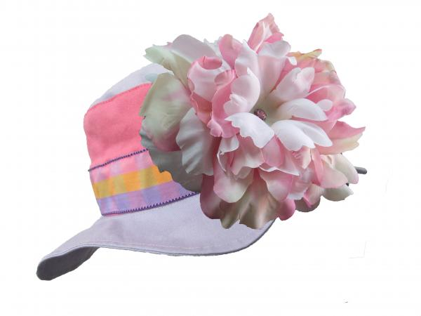 Lavender Gingham Sun Hat with Pink White Large Peony