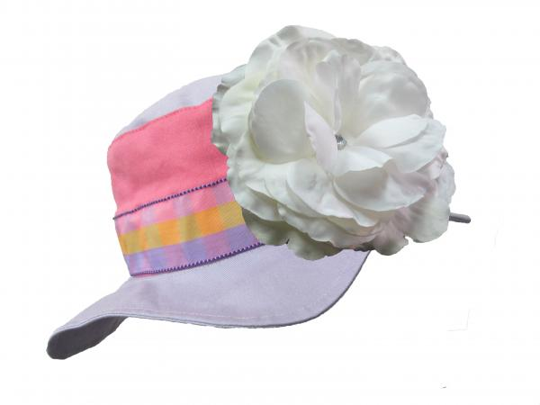 Lavender Gingham Sun Hat with White Large Rose