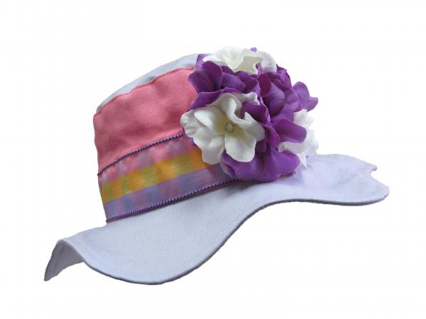 Lavender Gingham Sun Hat with White Purple Large Geraniums