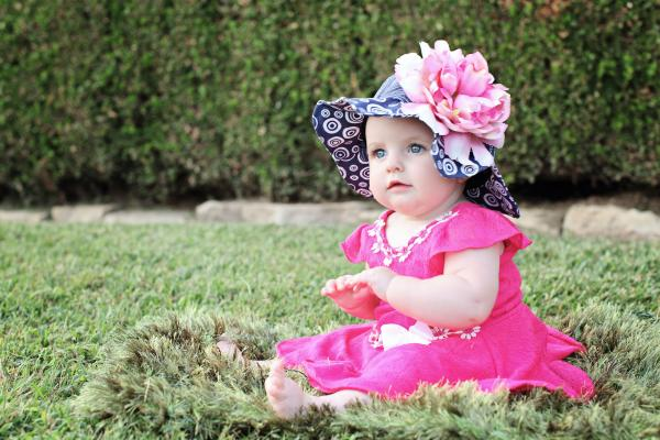 Navy Blue Sun Hat with Candy Pink Large Peony