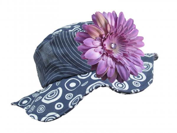 Navy Blue Sun Hat with Lavender Daisy