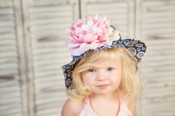 Navy Blue Sun Hat with Pink White Large Peony