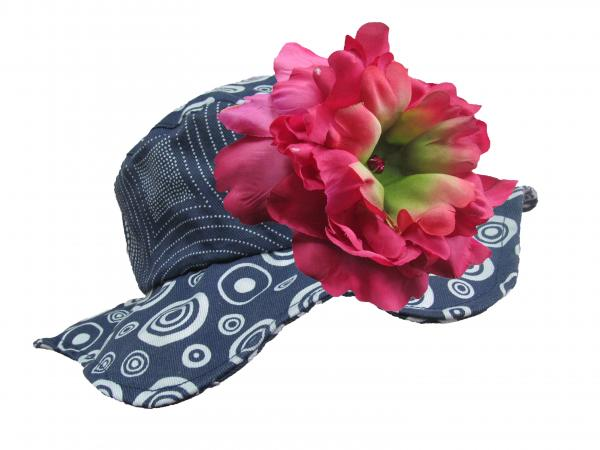 Navy Blue Sun Hat with Raspberry Large Peony