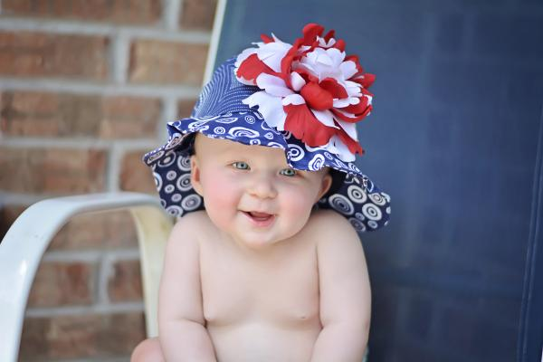 Navy Blue Sun Hat with Red White Large Peony