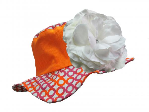 Orange Sun Hat with White Rose