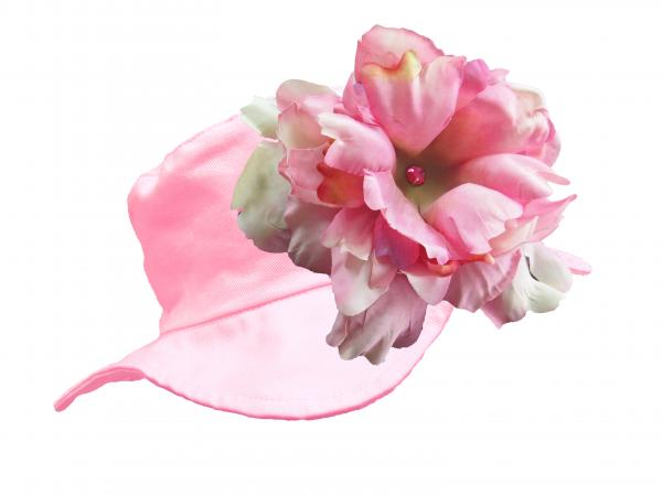 Pale Pink Sun Hat with Candy Pink Large Peony