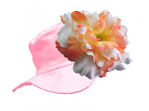 Pale Pink Sun Hat with Orange White Large Peony