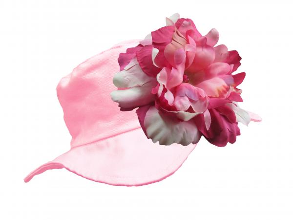 Pale Pink Sun Hat with Pink Raspberry Large Peony
