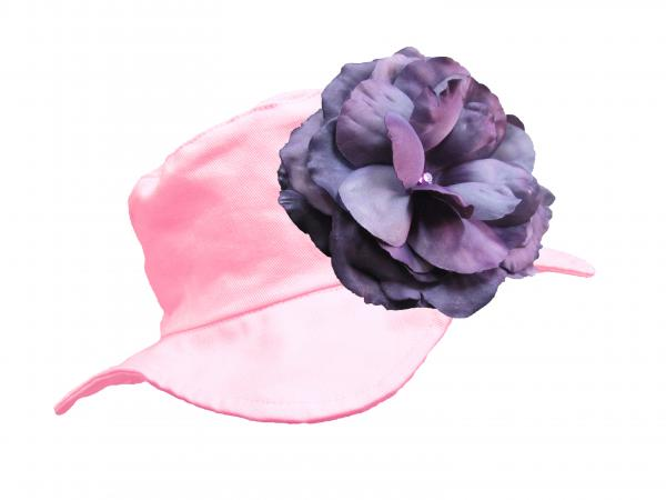 Pale Pink Sun Hat with Purple Large Rose