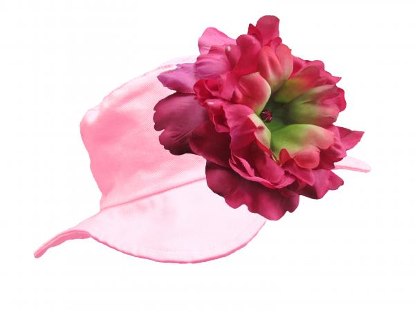 Pale Pink Sun Hat with Raspberry Large Peony