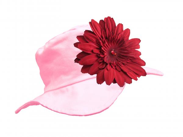 Pale Pink Sun Hat with Red Daisy