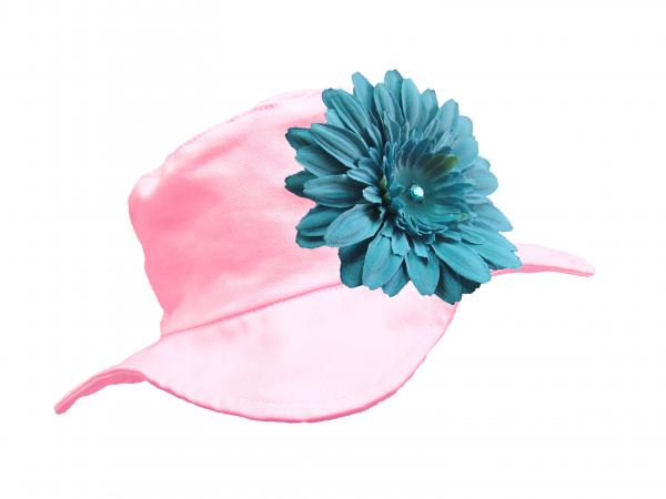 Pale Pink Sun Hat with Teal Daisy