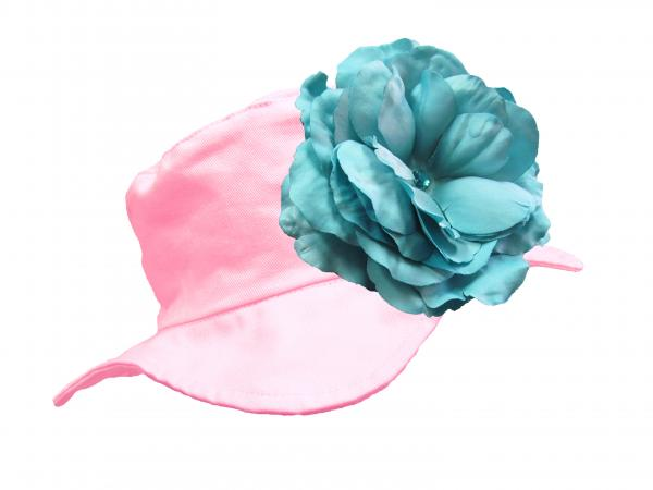 Pale Pink Sun Hat with Teal Large Rose