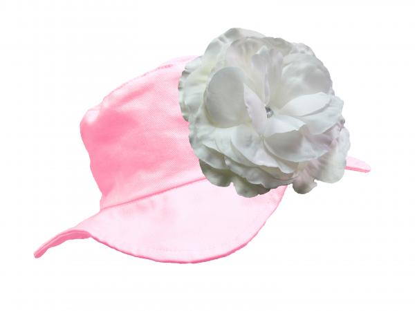 Pale Pink Sun Hat with White Large Rose