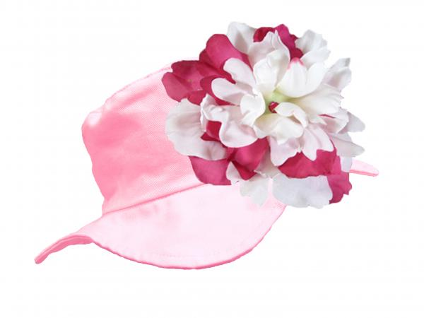 Pale Pink Sun Hat with White Raspberry Large Peony