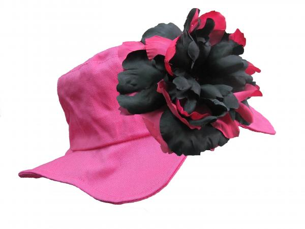 Raspberry Sun Hat with Black Raspberry Large Peony