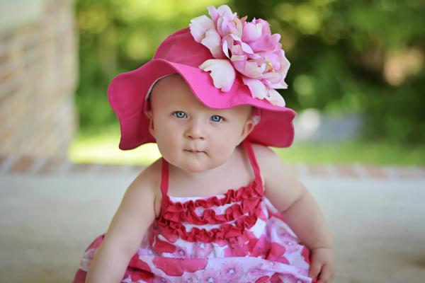 Raspberry Sun Hat with Candy Pink Large Peony