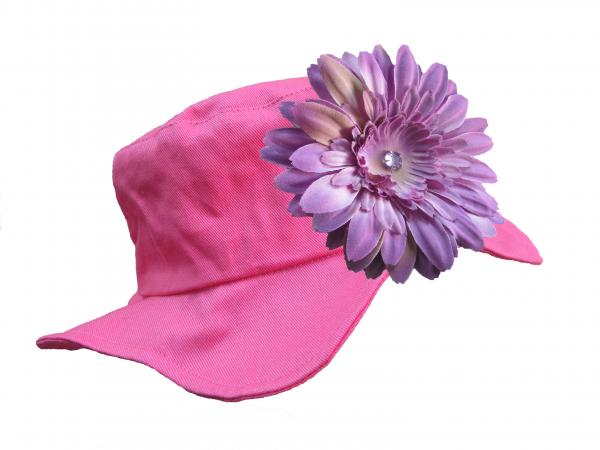 Raspberry Sun Hat with Lavender Daisy