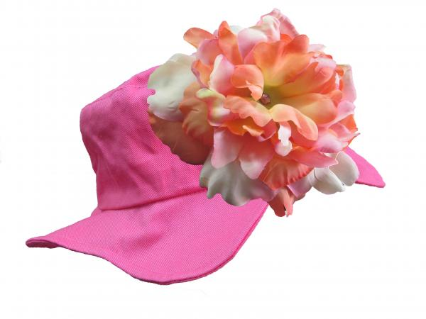 Raspberry Sun Hat with Pink Orange Large Peony