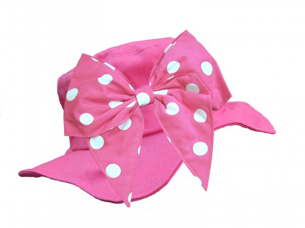 Raspberry Sun Hat with Pink White Bow-Rae-Mi