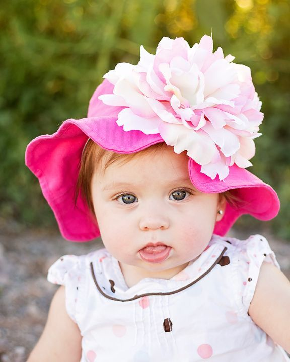 Raspberry Sun Hat with Pink White Large Peony