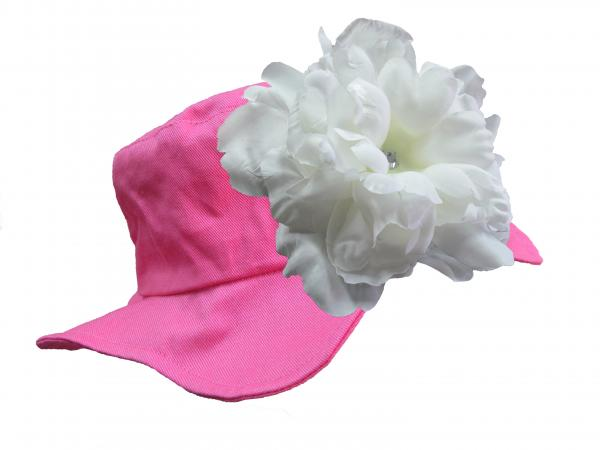 Raspberry Sun Hat with White Large Peony