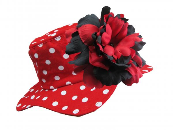 Red Dot Sun Hat with Black Red Large Peony