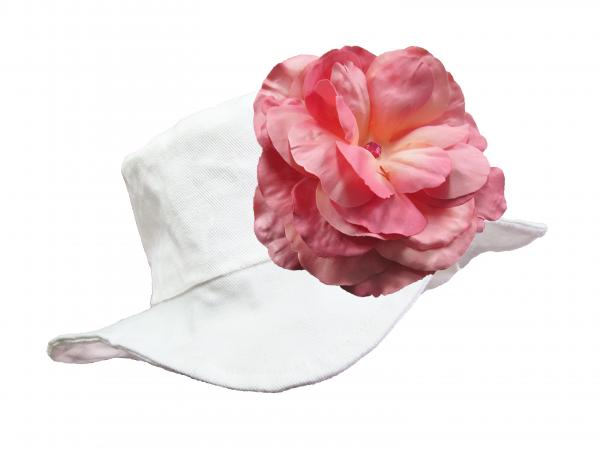 White Sun Hat with Candy Pink Large Rose